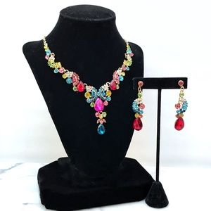 Cherryl's Jewelry - Multicolor Crystal Statement Necklace Set